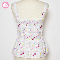 【SALE】Gingham Cherry Peplum Bustier