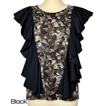 【SALE】6-D/full print ruffle tops