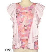 6-D/full print ruffle tops