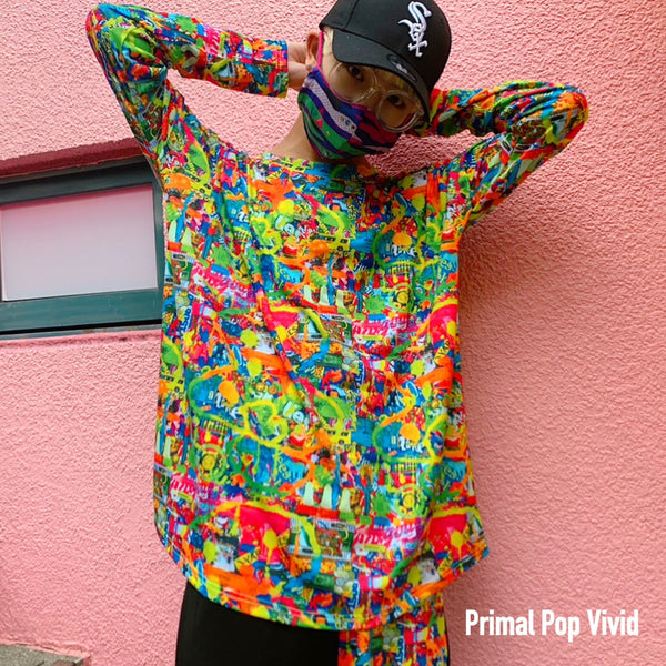All over printed Long Sleeve T-Shirt/Primal Pop
