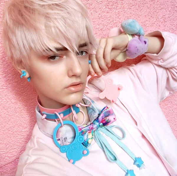 Pastel bear choker by Devilish