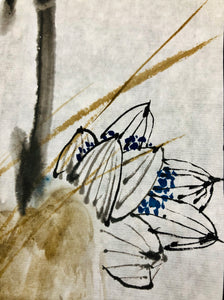 Fun Play In Lotus Pond on Xuan, Chinese Ink Colour Painting (Original/One Only)
