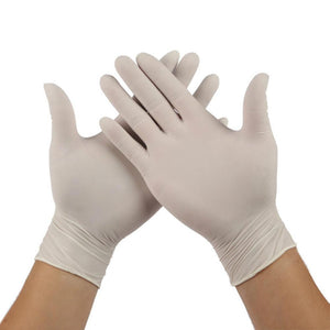 100pcs Disposable Gloves Latex Rubber Gloves Powder Free Food Prep Cooking Gloves White Latex Rubber Gloves