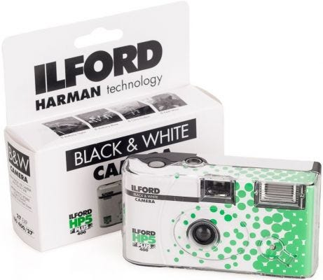 Ilford HP5 Plus 400 ISO 35mm Single Use Camera 27 Exposure Black & White Film