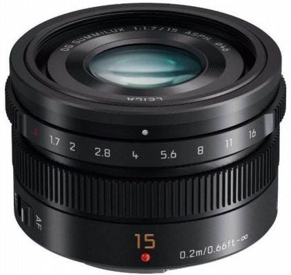 Panasonic Leica DG Summilux 15mm f/1.7 ASPH - Black Lens