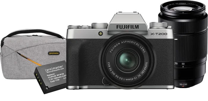 Fujifilm X-T200 Silver w/15-45mm and 50-230mm plus Bonus Bag and Battery