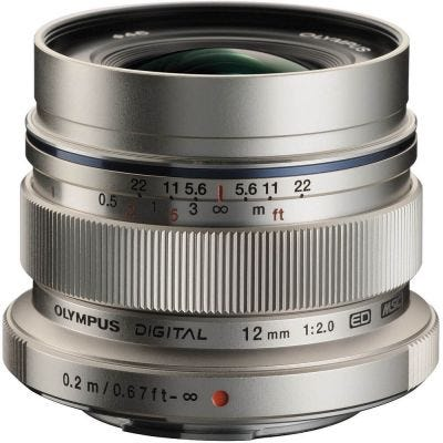 Olympus M.Zuiko 12mm f/2.0 Silver Wide Angle Lens