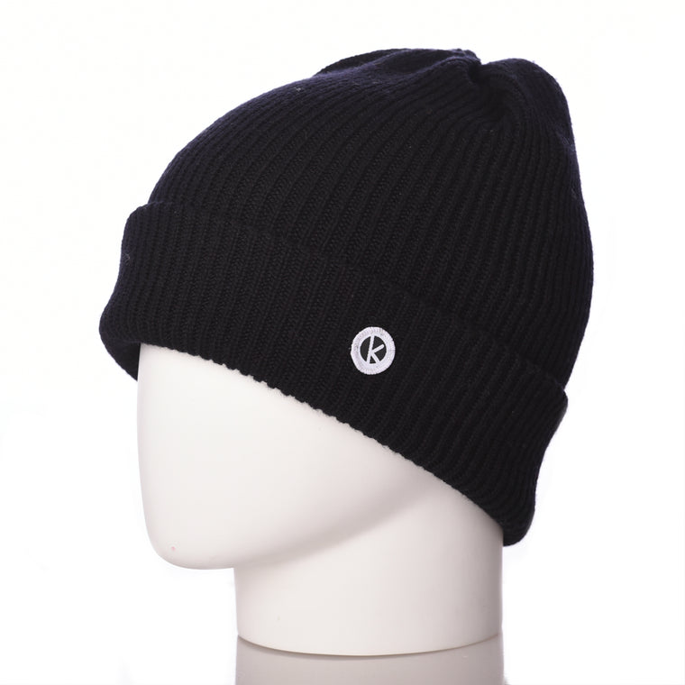 Bowen Turn Up Merino Wool Beanie - Black