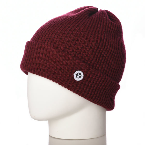 Bowen Turn Up Merino Wool Beanie - Bordeaux - K-nit