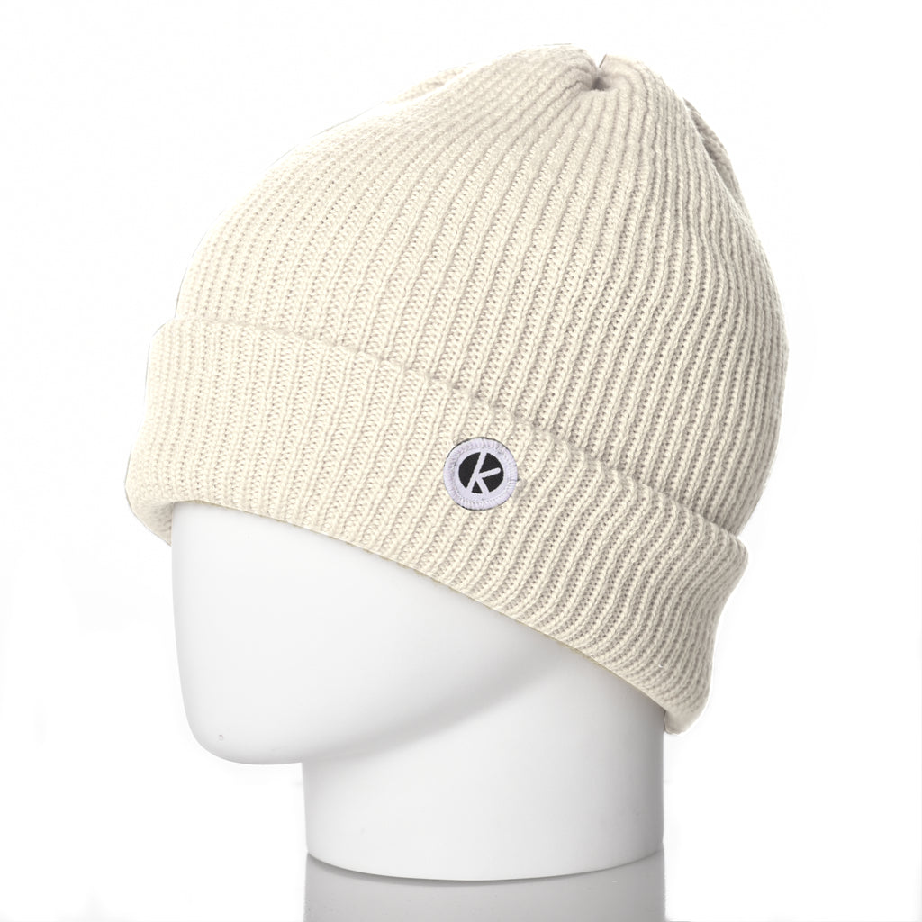 Bowen Turn Up Merino Wool Beanie - Cream