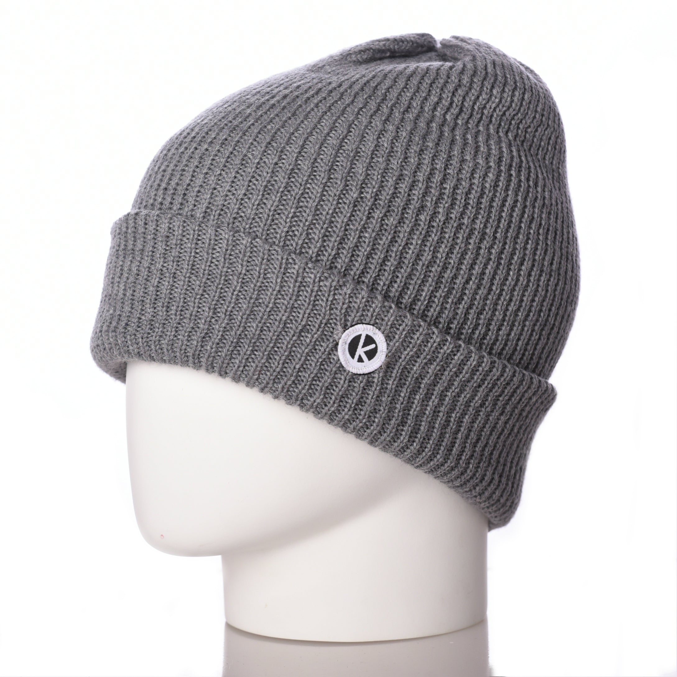 Bowen Turn Up Merino Wool Beanie - Grey