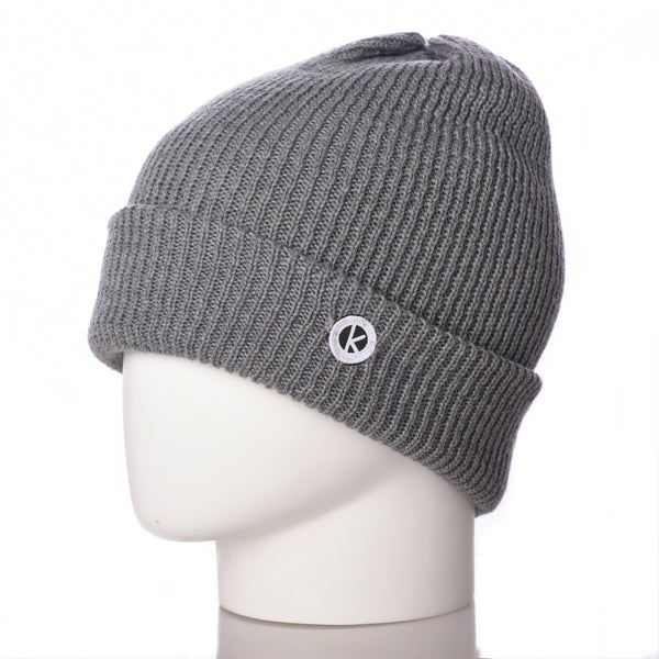 Bowen Turn Up Merino Wool Beanie - Grey - K-nit