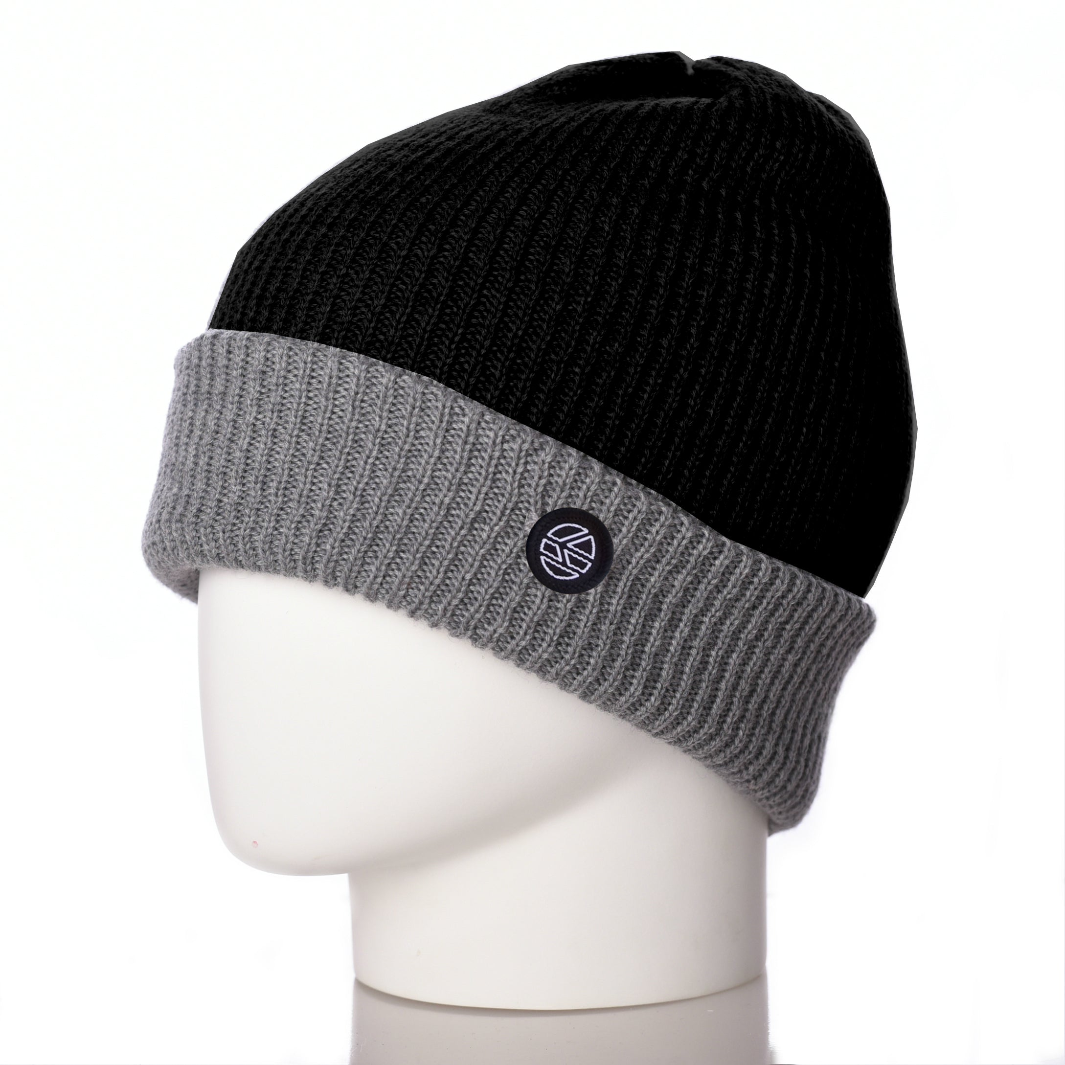 Bowen Turn Up Merino Wool Beanie - Black/Grey