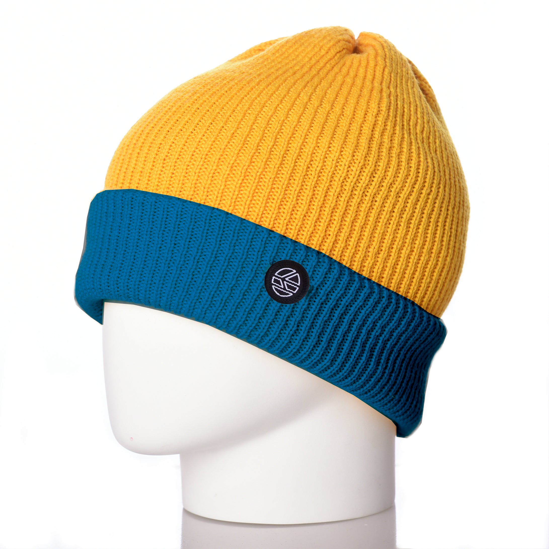 Bowen Turn Up Merino Wool Beanie - Turquoise/Yellow