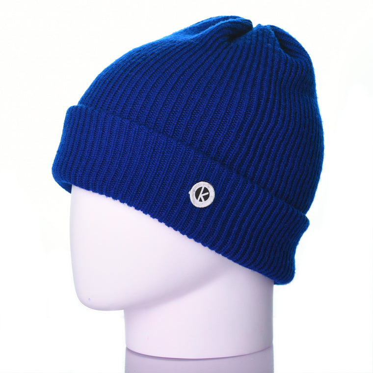 Bowen Turn Up Merino Wool Beanie - Royal