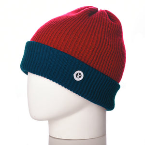 Bowen Turn Up Merino Wool Beanie - Teal/Red