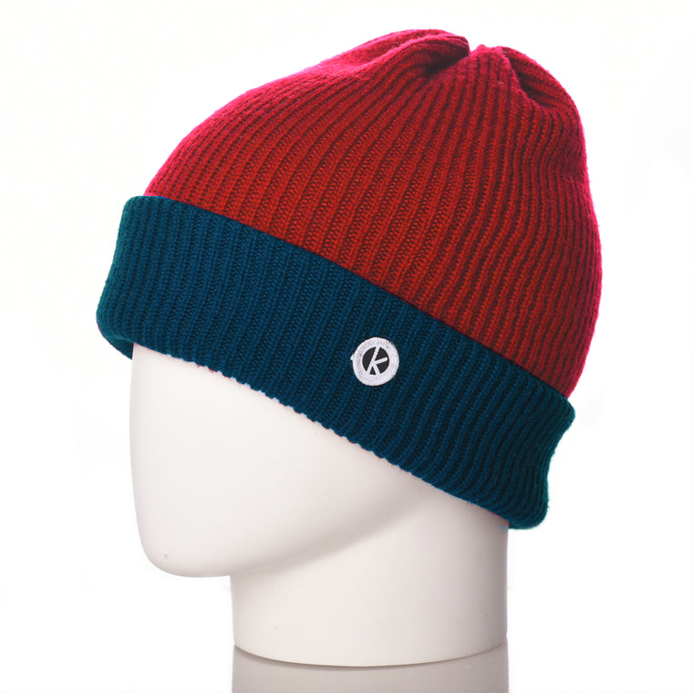 Bowen Turn Up Merino Wool Beanie - Contrast