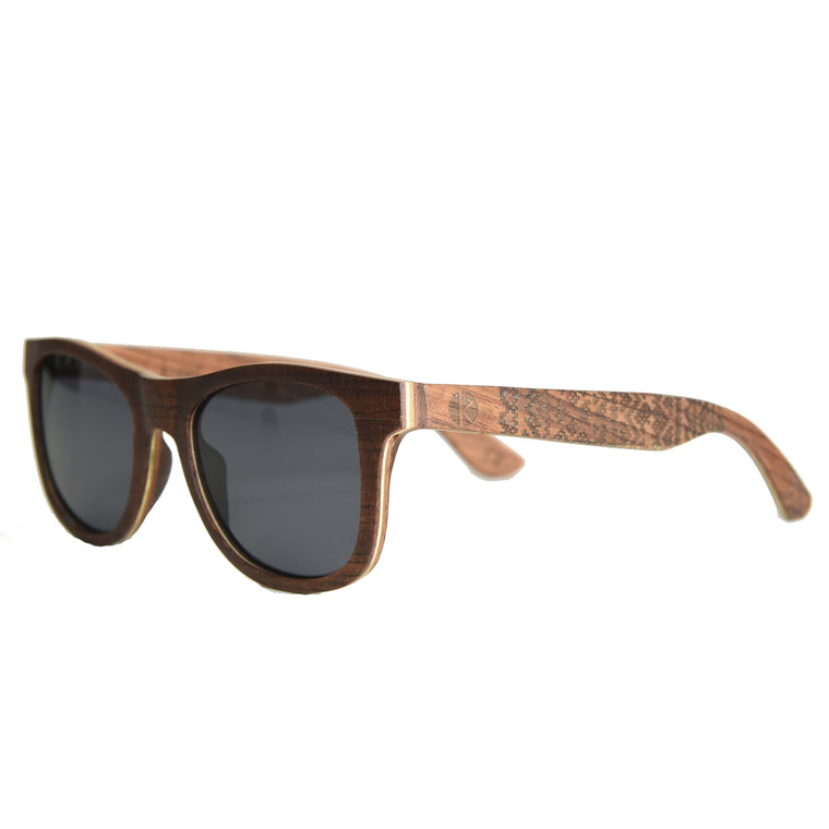 K-nit 'Enjees' Handcrafted Wooden Sunglasses - Rosewood