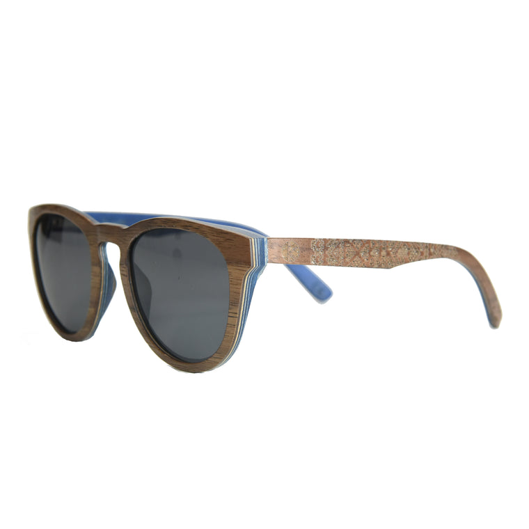 K-nit 'Enjees' Handcrafted Wooden Sunglasses - Walnut