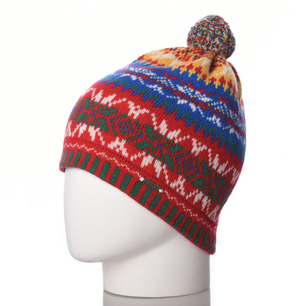 Flakey Wakey Lambswool Bobble Beanie - Red