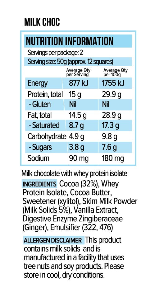 Vitawerx Protein Chocolate Bar | Milk Chocolate | 100g