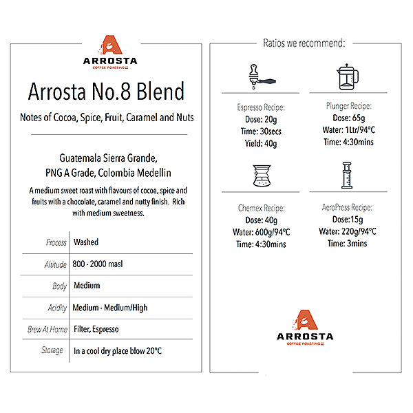 Arrosta Coffee | No. 8 Blend | Beans | 250g | Ships Every Wednesday