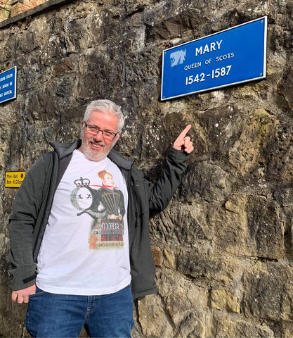 Kevin Cardle @ Fotheringhay Castle in Dead Queens Mary Queen of Scots T-Shirt