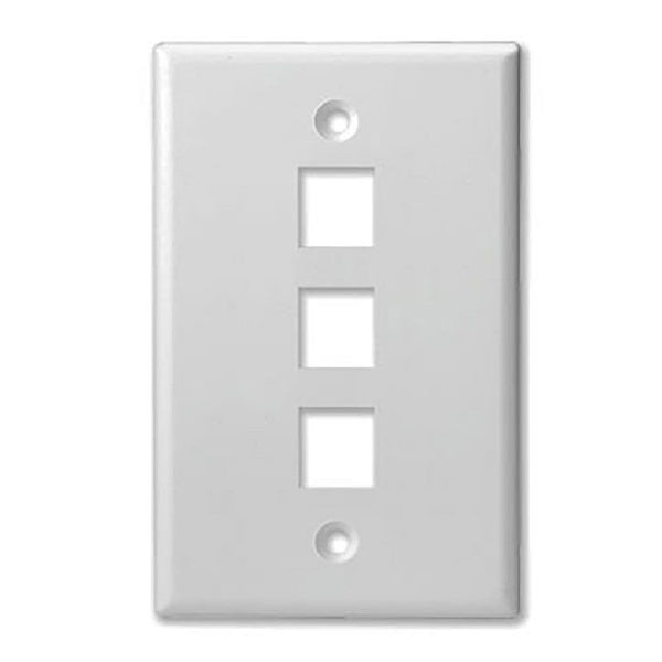 SCP 303-WT 3 PORT - MID SIZE - KEYSTONE WALL PLATE - SINGLE GANG, UL - WHITE