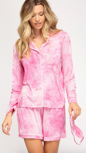 Tie Dye Pajama Set with Eye Mask