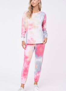 Tie Dye Cherry & Blue Lounge Wear Set