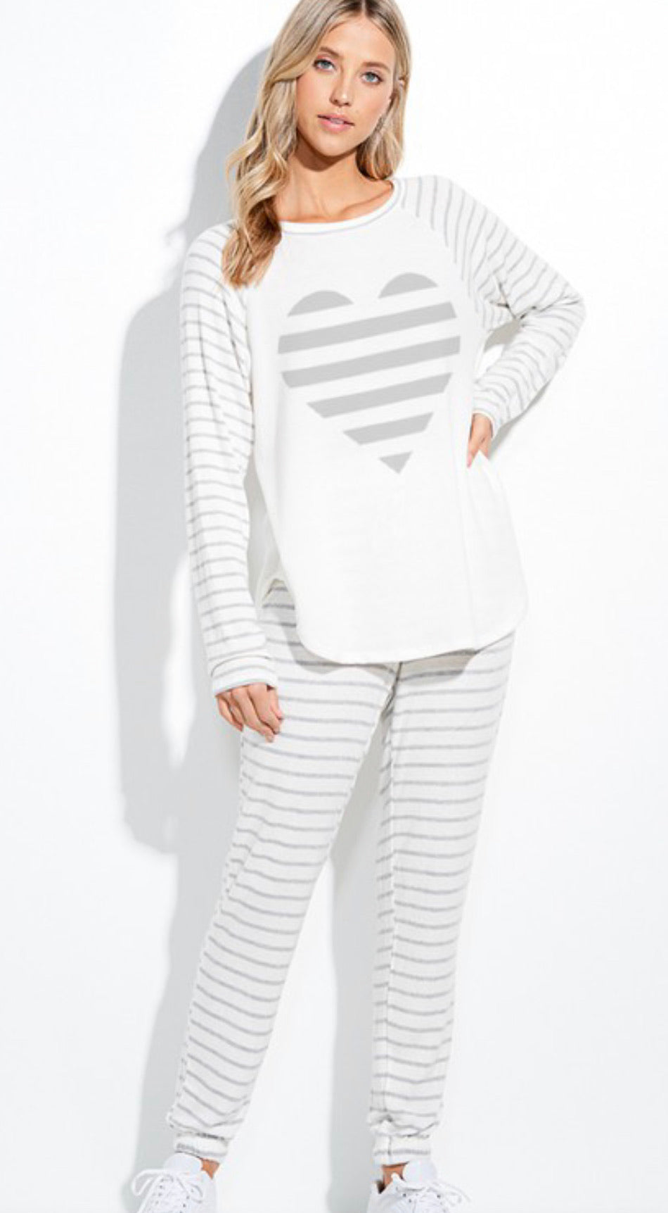 Grey Striped Heart Lounge Wear Set