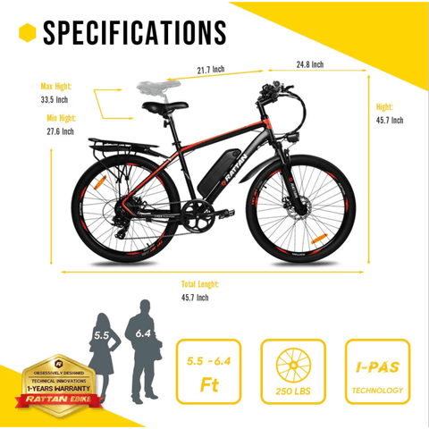 Image of Rattan Challenger Electric Bike 350W 48V/10.4AH Electric Mountain Bike