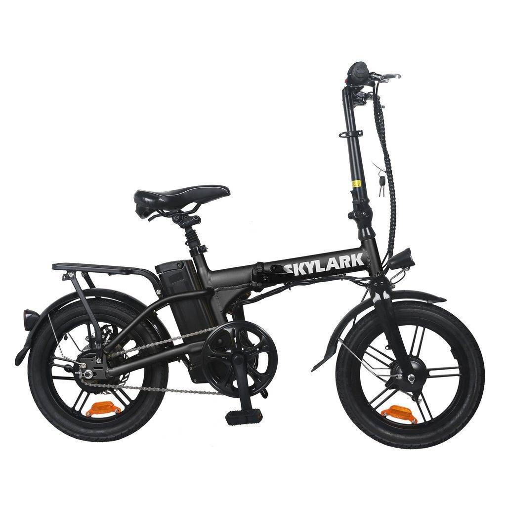 NAKTO Folding Electric Bicycle 16'' Black Skylark E-Bike NAKTO Black