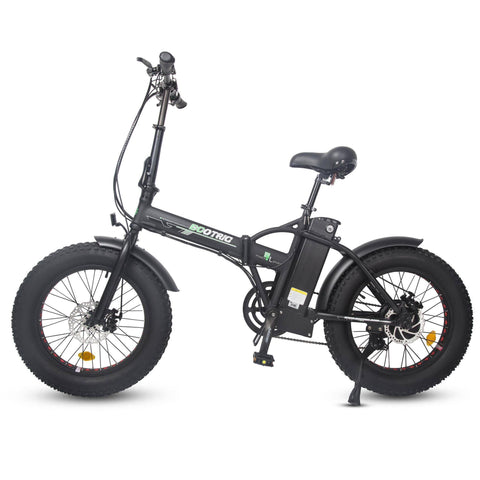 Image of Ecotric 48V Folding Fat Tire E-Bike with LCD Display - Matt Black E-Bike Ecotric