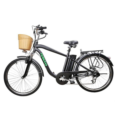 "Nakto City Electric Bicycle Men 26"" Camel Black with Plastic Basket - 250W 36V"