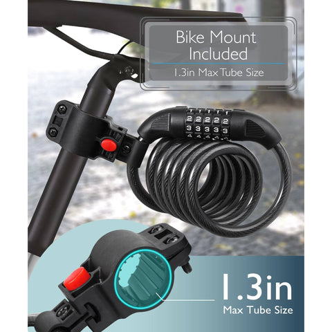 FREE GIFT: Cut Resistant Heavy Duty Combination Bike Lock (6 Feet)