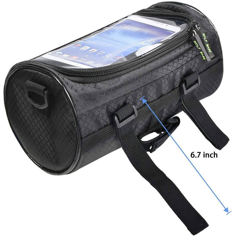 Waterproof Front Bike Phone Holder + Handlebar Bag with Storage and Shoulder Strap