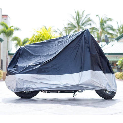 "Image of All Season Black Waterproof Sun Motorcycle Cover,Fits up to 108"" Motors (XX Large & Lockholes)"