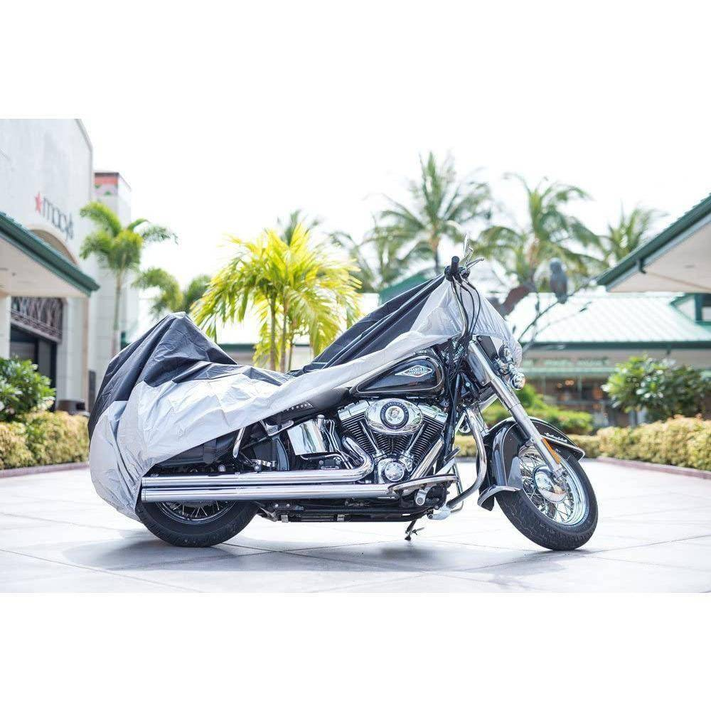 "All Season Black Waterproof Sun Motorcycle Cover,Fits up to 108"" Motors (XX Large & Lockholes)"