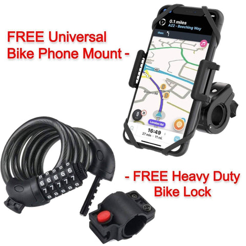 FREE GIFT: Cut Resistant Heavy Duty Combination Bike Lock + Universal Bike Phone Mount for Smartphones