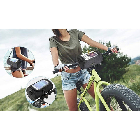 Image of Waterproof Front Bike Phone Holder + Handlebar Bag with Storage and Shoulder Strap
