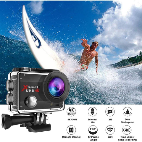 4K 20MP Action Wifi Camera with 2 Batteries - Electricbikepros