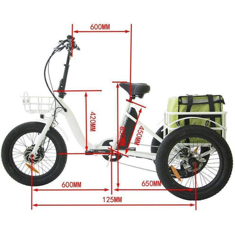 Eunorau New Trike 48V/12.5Ah 500W Fat Tire Electric Trike