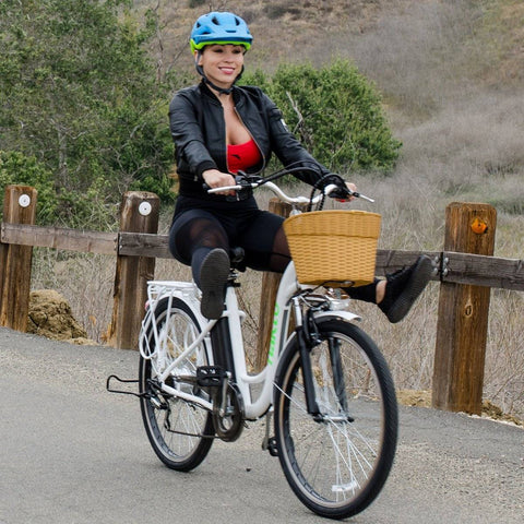 Image of NAKTO Camel Women 36V/10Ah 250W Cruiser Electric Bike With Plastic Basket