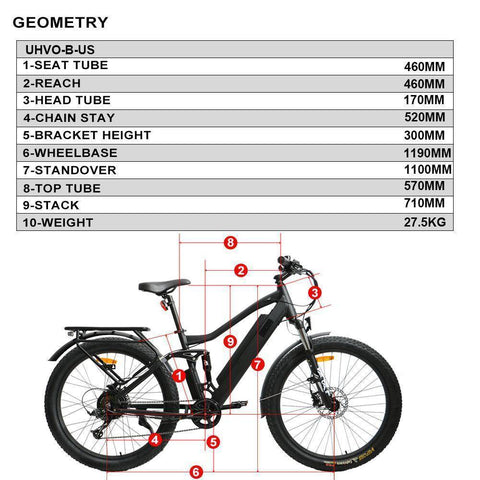 Eunorau UHVO 36V/10.4Ah 350W Full Suspension Electric Mountain Bike