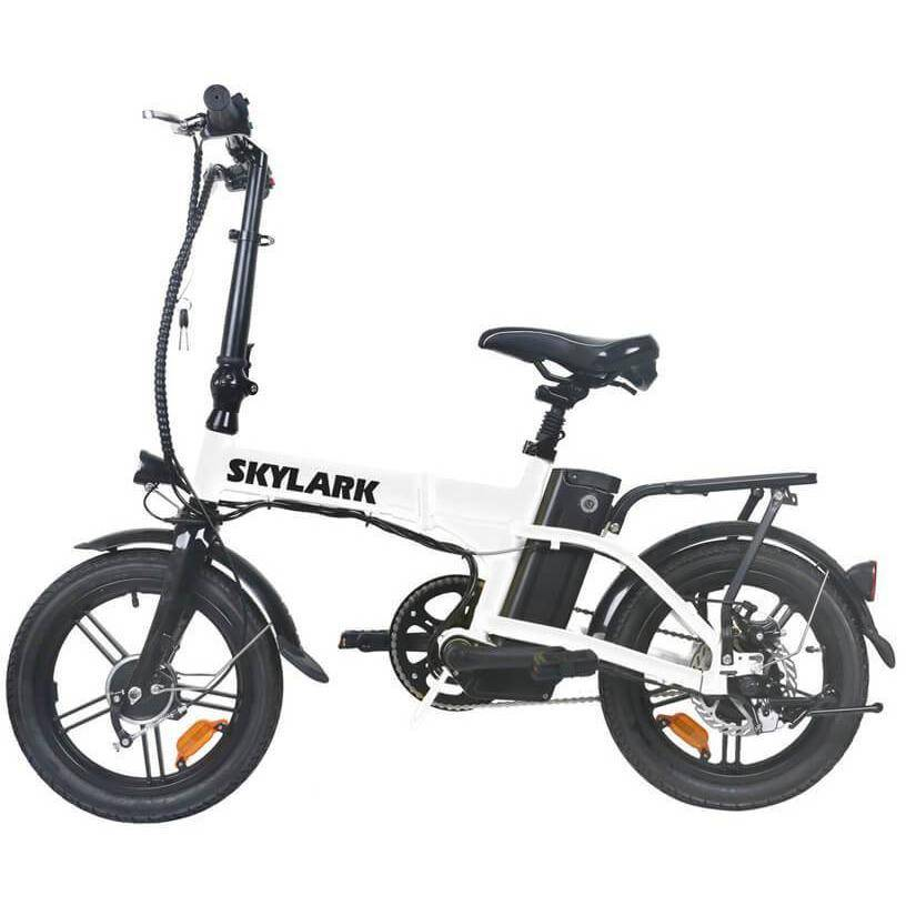 NAKTO Folding Electric Bicycle 16'' Black Skylark E-Bike NAKTO White