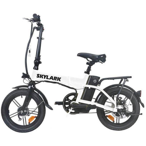 Image of NAKTO Folding Electric Bicycle 16'' Black Skylark E-Bike NAKTO White