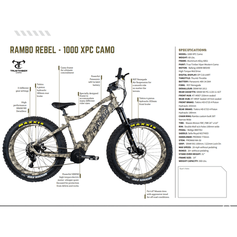 Image of Rambo Rebel 48V/14.5Ah 1000W Fat Tire Electric Hunting Bike 1000 XPS 2021 Model