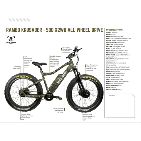 Image of Rambo Krusader 48V/14.5Ah 500W X2WD Fat Tire Electric Hunting Bike