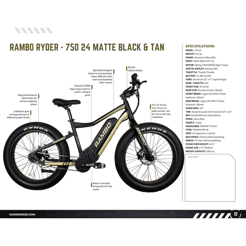 Rambo Bikes The Pursuit 48V/14Ah 750W Fat Tire Electric Hunting Bike